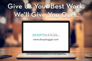 ShopDuggal Laptop and Tag: Give Us Your Best Work. We'll Give You Ours